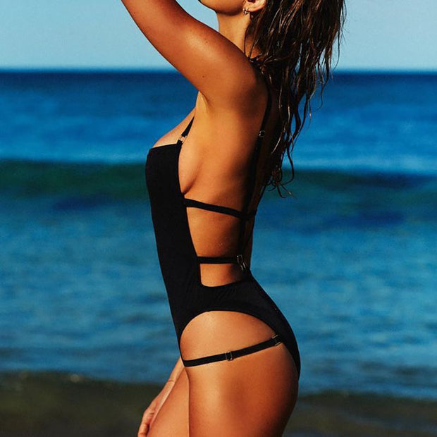 Women Summer Fashion Beach Black Swimsuit Backless One Piece 131928