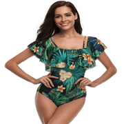 Women One Piece Flounce Swimsuit Pineapple Printed Off Shoulder Bathing Suit Swimsuits  129873