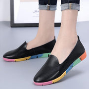 Women's Leather Fashion Round Head Set Foot Color Casual Loafers
