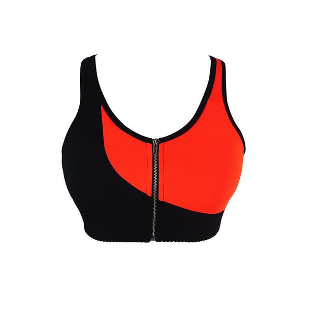 Women Sports Bra Zipper Front Padded Push Up Shockproof Tank Tops Gym Fitness Vest Running Bras 117667