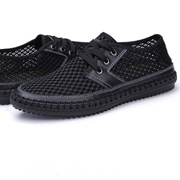 Men's Loafers Summer Fashion Lace Up Breathable Men's Casual Shoes Soft Outdoor Mesh Man's Flat(Second -30% by code:BTS30)