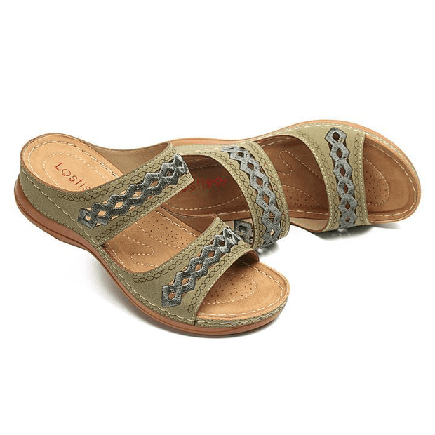 Women's comfortable cut-out embroidered sandals