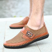 Men Casual Shoes Leather Breathable Comfortable Loafers Summer Fashion Soft Outdoor Mesh Man's Flat 134165