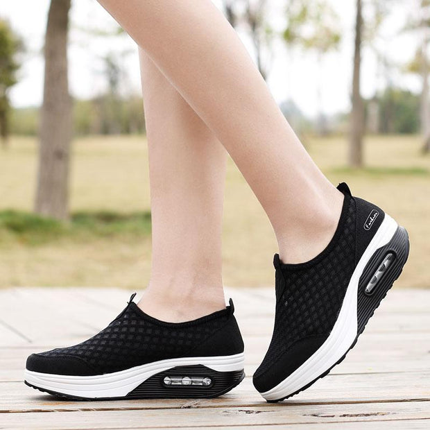 Women Breathable Mesh Height Increasing Shoes Outdoor Walking Sports Wedge Sneakers Platforms Shoes 133678