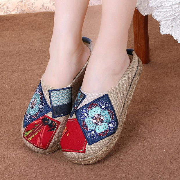 Women Linen National Wind Half Dragging Wearing Baotou Female Slippers