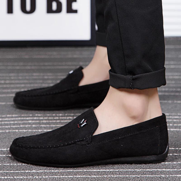 Men's suede low cut casual flat beanie four seasons men's shoes
