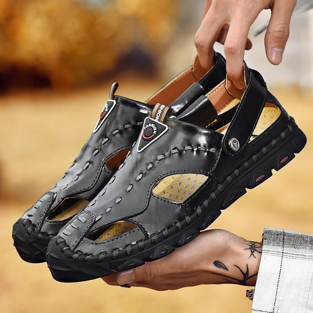 Men's Athletic Slides Sandals Sport Men's Summer Beach Leather Hiking Closed Toe Anti Collision  134629