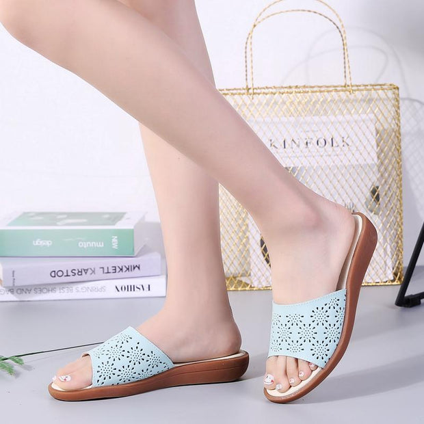 Women's Shoes Leather Flat Bottom Openwork Sandals 134991