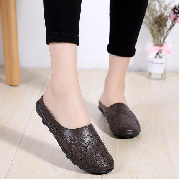 Summer Shoes Slippers Women Ballet Flat Sandals Shoes Slip On Comfortable Cut-Outs Slides Sandals 134869