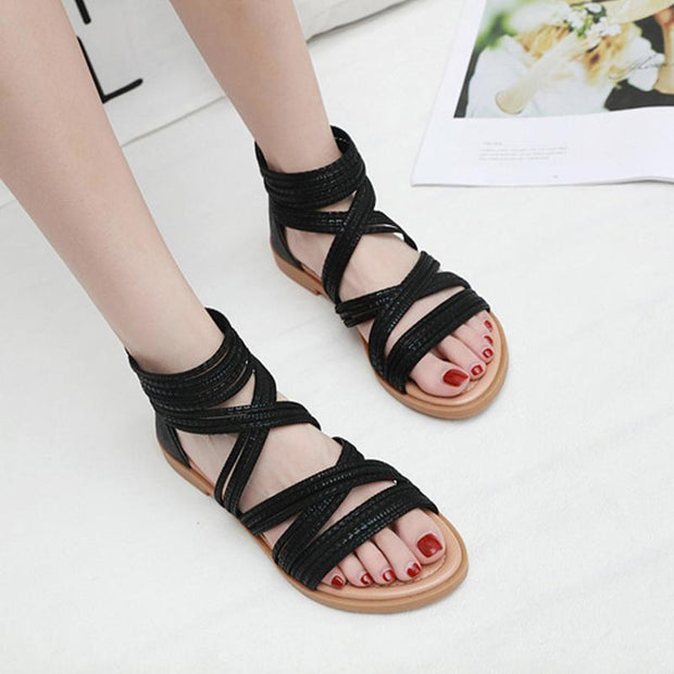 Women Sandals Ladies Summer Roman Shoes Solid Color Flat Slippers Beach Sandals