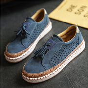 Women Slip on Casual Shoes Tassels Platform Hollow Out Round Toe Leisure Loafers
