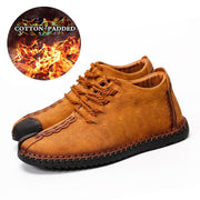 Men Large Size Hand Stitching Leather Non-slip Soft Sole Warm Casual Boots
