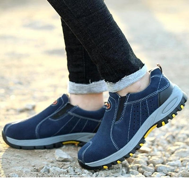 Men's Genuine Leather Breathable Mesh Steel Safety Durable Athletic Sneakers
