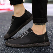 Men's Casual Leather Breathable Outdoor Handmade Slip on Flats