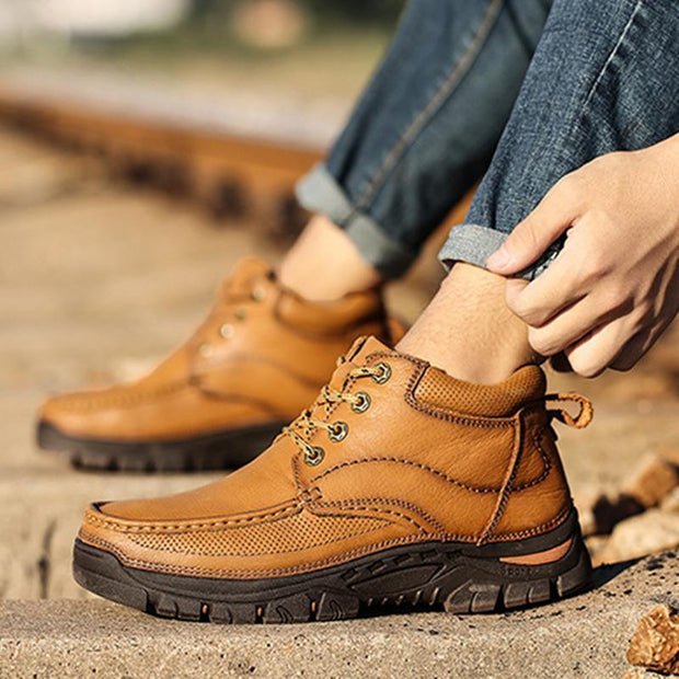 Men's New Toe Layer Leather Non-Slip Wear-Resistant Youth Hiking Shoes