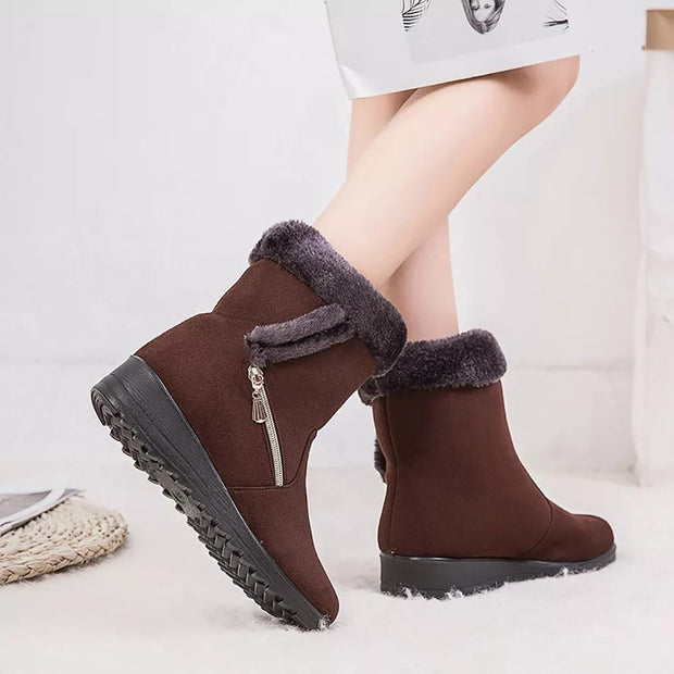 137438 Women Suede Warm Lined Mid Calf Solid Color Wedges Winter Snow Boots