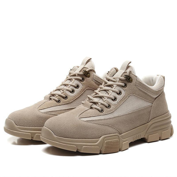 Men's new trend of frosted leather round head low to help British wind breathable tooling shoes