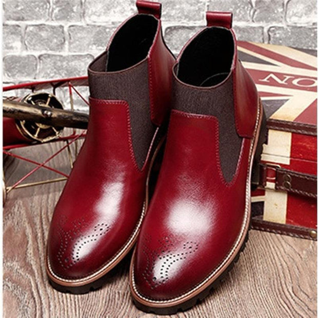 Men's high quality leather rubber sole retro pointed elastic panel boots