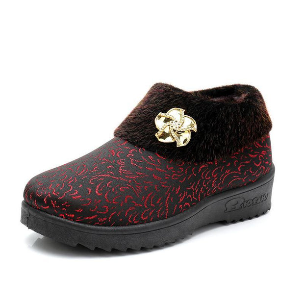 137634 Women's middle-aged cotton shoes thickened plus velvet warm non-slip grandmother shoes