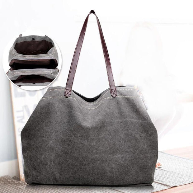 137692 Women's Outdoor Multi-layer Zipper Canvas Shoulder Bags