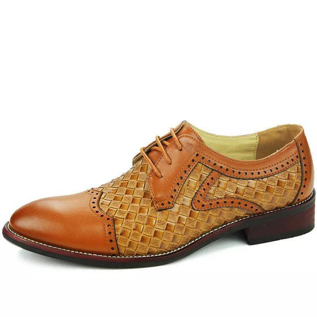 Men's Genuine Leather Hollow Spicing Pattern Business Oxfords