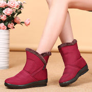 Women Snow boots female thick warm waterproof non-slip round head flat comfortable old cotton boots