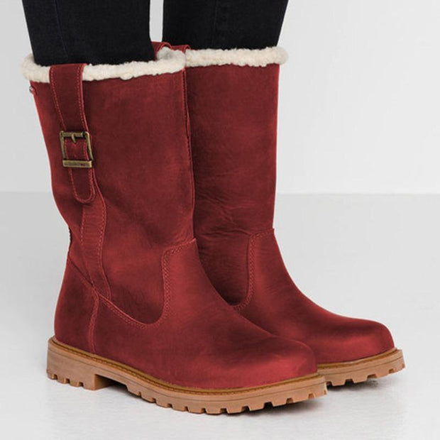 138018 Women Slide Snow Boots Pu Working Chunky Heel Winter Shoes