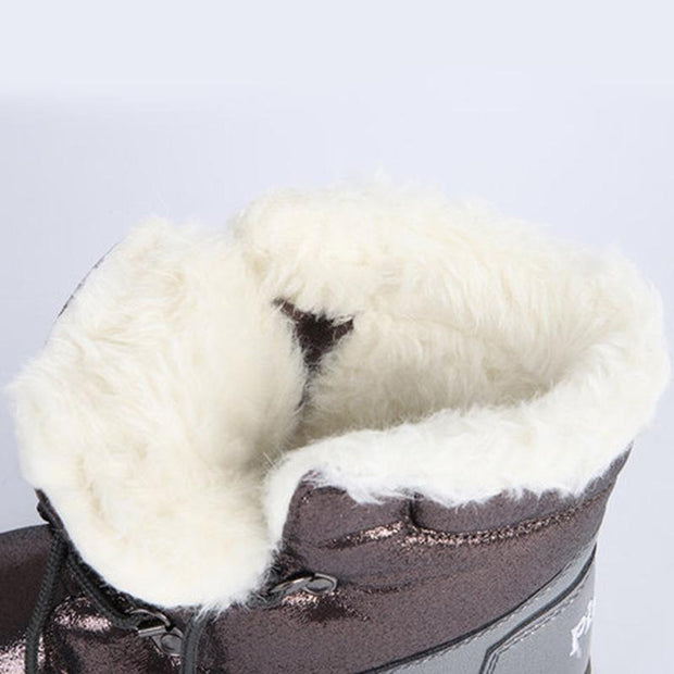 Women Flat Heel Waterproof Lace Winter Snow Boots Casual Fur Lined Snow Boots