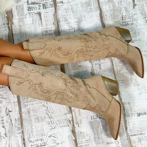 138103 Women Casual Daily Printed Slip On Mid-Calf Boots