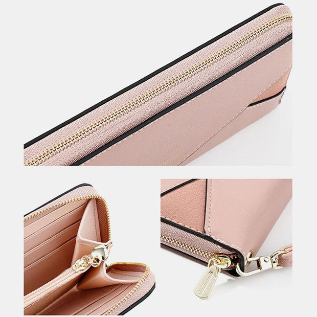 138134 Women Patchwork Zipper Long Purse Wallet