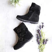 138155 Women Cushioned Low-Calf Buckled Boots Low Heel Knitted Fabric Zipper Slip On Boots