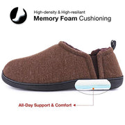 138177 Men's fuzzy wool felt memory foam non-slip warm double-sided elastic slippers