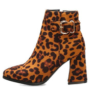 138340 Women's Square High Heel Zip Leopard Print Pointed Suede and Leopard Boots