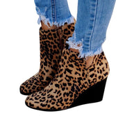 138342 Women's winter leopard print suede classic Roman style pointed casual shoes