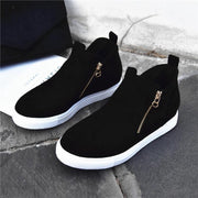 138383 Women Casual Double Side Zipper Flat Suede Sneakers