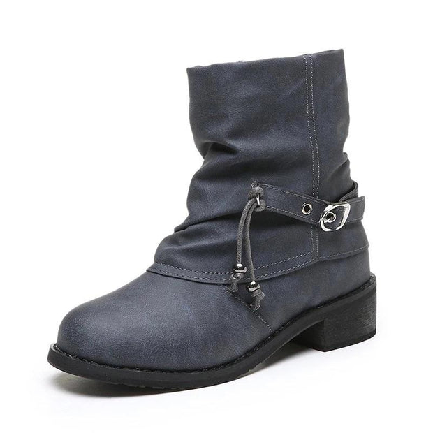 Women's Side Zipper Thick Heel Round Ankle Boots