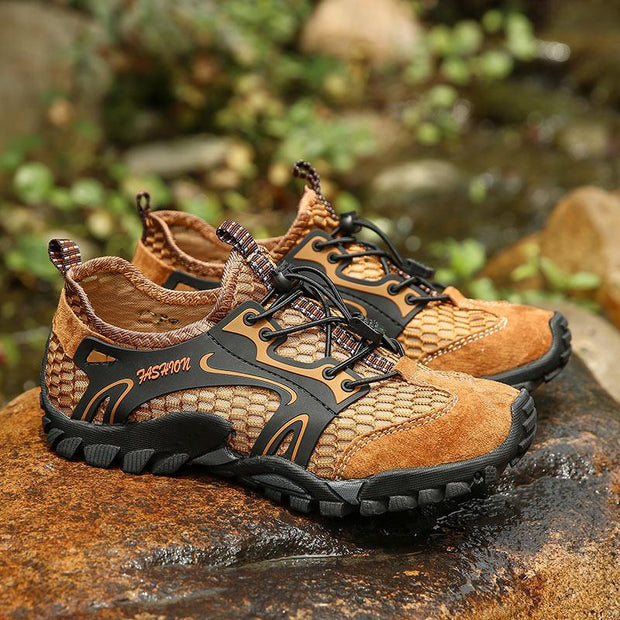 Men Mesh Breathable Outdoor Lace Up Slip Resistant Hiking Water Shoes