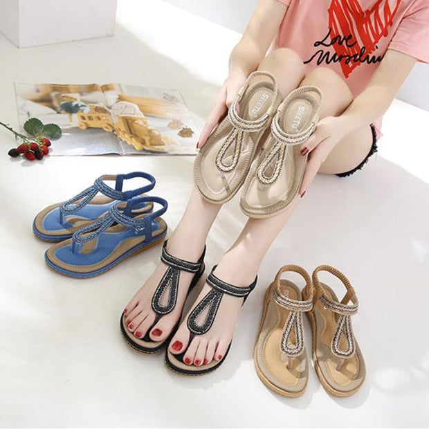 Women Summer  Outdoor Sandals Flat With Shoes Bohemia Crystal Leisure Lady Sandals Comfortable Woven Shoes Flat With Flip Flop