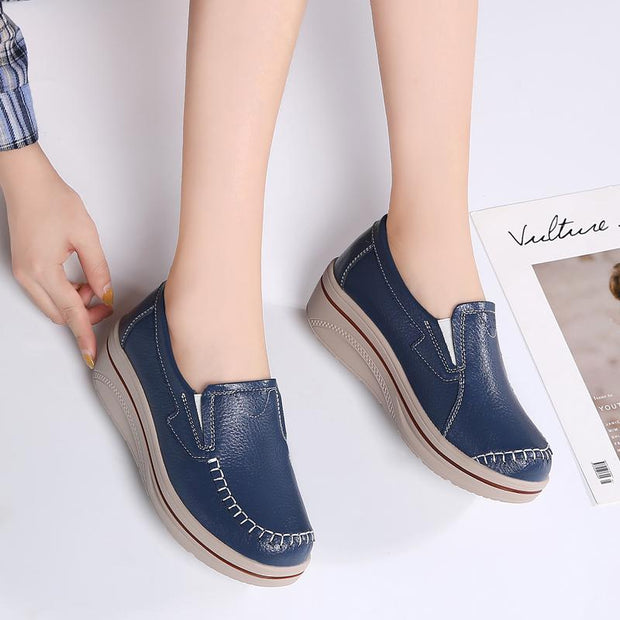 Women thick bottom loafers contracted breathable platform shoes