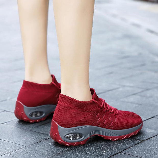 Women breathable comfortable platform sneakers fly woven casual shoes