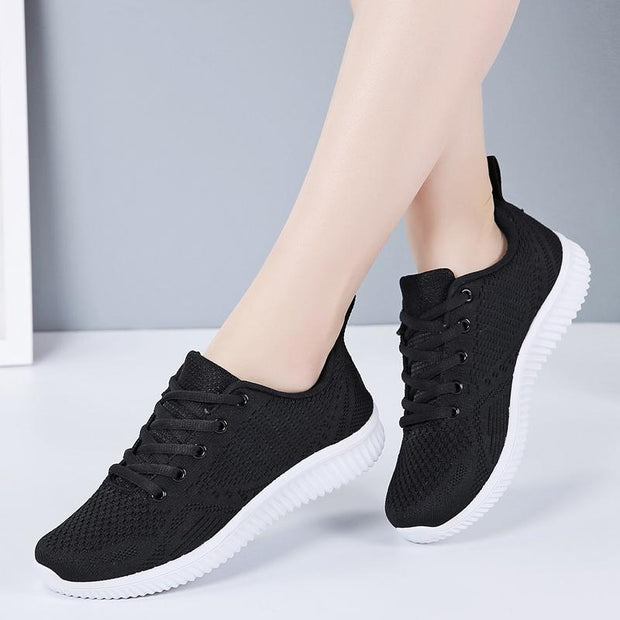 Women breathable leisure fly weave sneakers