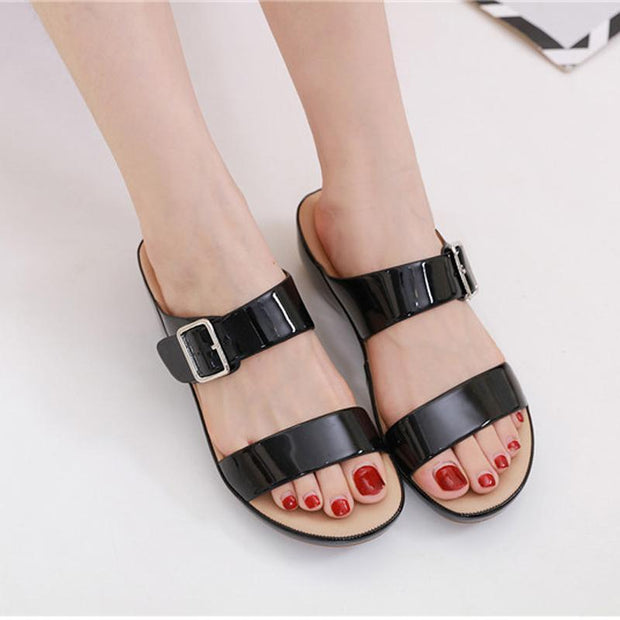 Women's buckle comfortable slippers summer casual shoes ladies buckle soft bottom large size wedge slippers