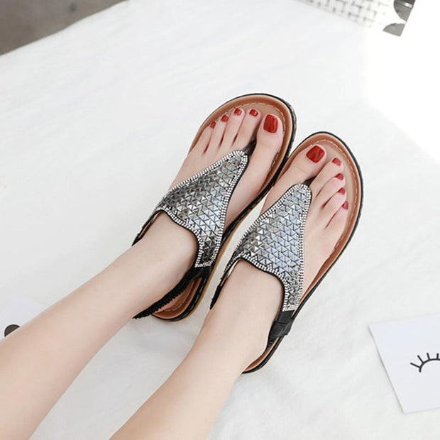 Women Bohemia Sandals Casual Shoes Gladiator Summer Fashion Beach Sandalias Flip Flops Flat With Shoes Low Heels Plus Size 35-42