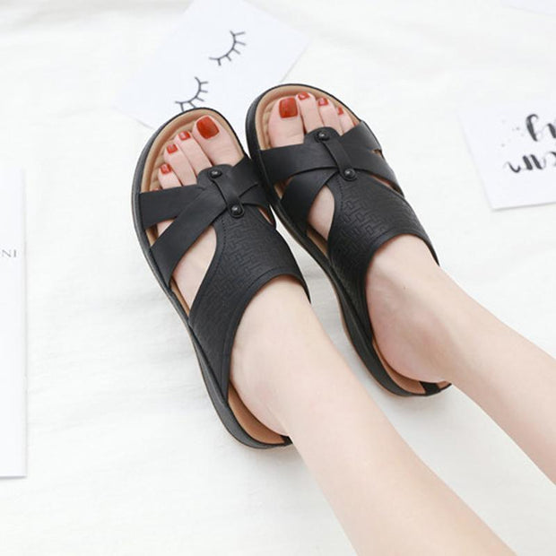 Women Open Toe cut out Slides Mules Cut Out Platform Wedge Heel Shoes Comfort Soft Med Heel Summer Shoes Plus Size 36-42