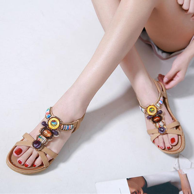 Woman High Quality Bohemian Beaded Sandals Brand Women Sandals Clip Toe Flat Shoes Ladies Comfortable Beach Sandals Plus Size 42