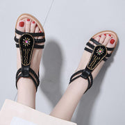 Woman new shoes Summer sandals women peep-toe sandalias flat Shoes Roman sandals shoes woman mujer Ladies Beaded Flip Flops Footwear