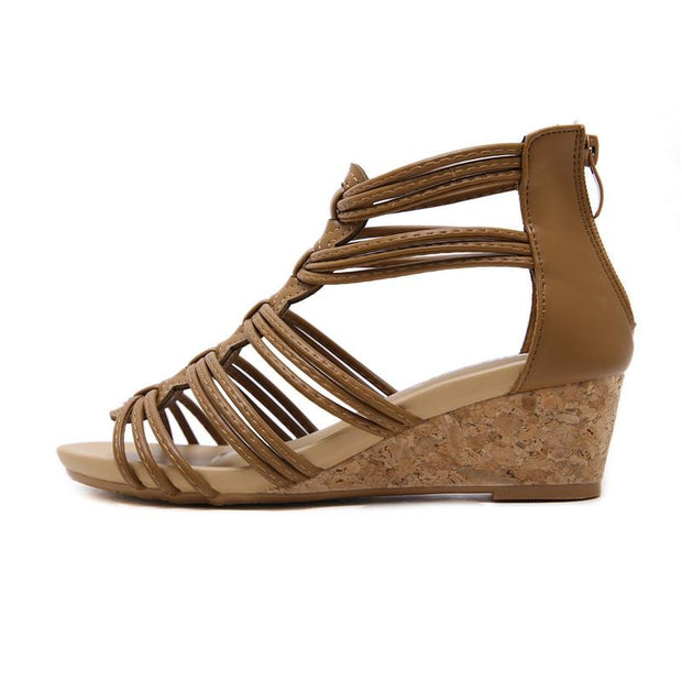 Women Rome Gladiator Sandals Open Toe Strappy Platform Wedge Heel Ankle Strap Shoes Cut Out Wood Med Heel Plus Size 35-42