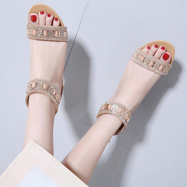 Women's sandals New Summer Fashion Bohemia Wedges Shoes Casual Rhinestone Middle Heel Sandals lady's Beach Shoes