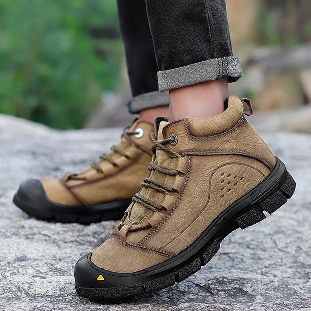 Men's outdoor leisure high for sewing leather shoes