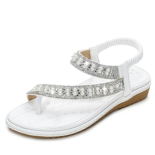 woman Bohemia style shoes string bead CRYSTAL platform shoes woman summer women sandals party fashion Flat Sandals